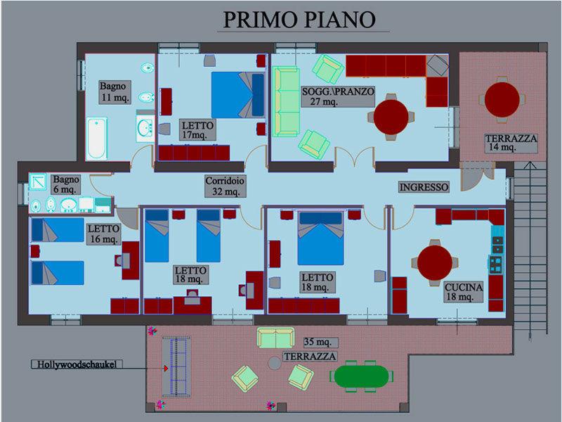 Pianta casa vacanze Affitto Villa  20490 Ascea
