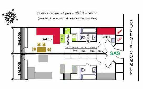 Pianta casa vacanze Affitto Monolocale 238 Les Arcs