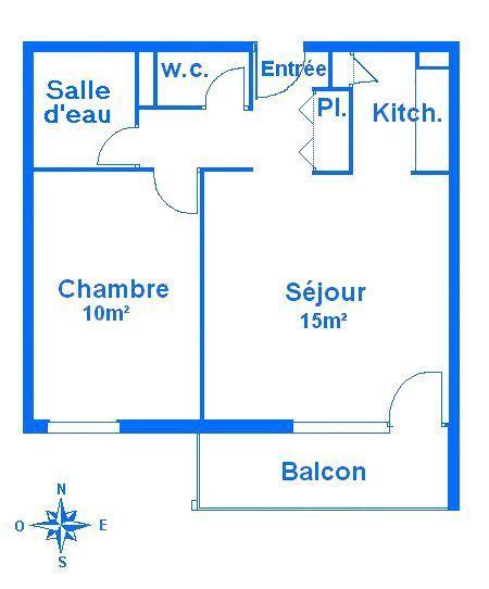 Pianta casa vacanze Affitto Appartamento 50329 Orcières Merlette
