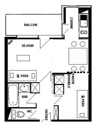 Pianta casa vacanze Affitto Monolocale 57992 La Plagne