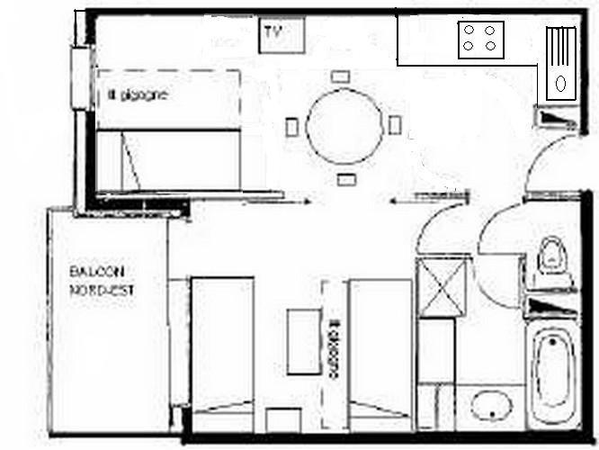 Pianta casa vacanze Affitto Monolocale 59132 Valmorel