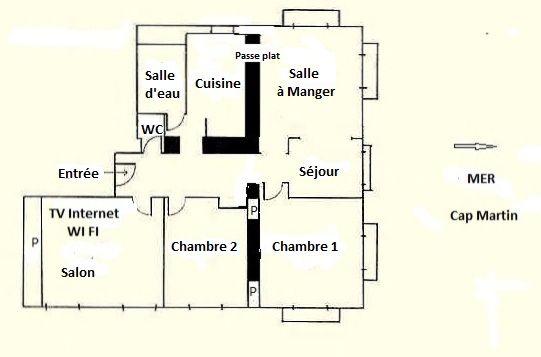Pianta casa vacanze Affitto Appartamento 99643 Menton (Mentone)
