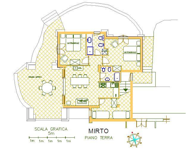 Pianta casa vacanze Affitto Appartamento 83851 Golfo Aranci