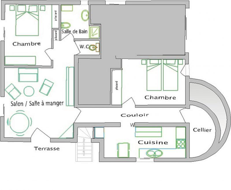 Pianta casa vacanze Affitto Appartamento 106323 Antibes