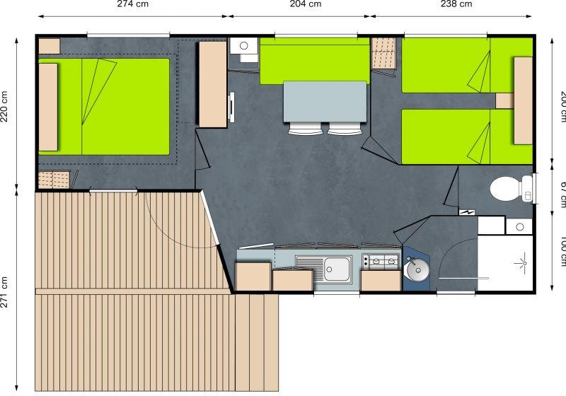 Pianta casa vacanze Affitto Casa mobile 13330 Bayeux