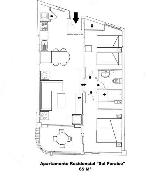 Pianta casa vacanze Affitto Appartamento 15419 Adeje