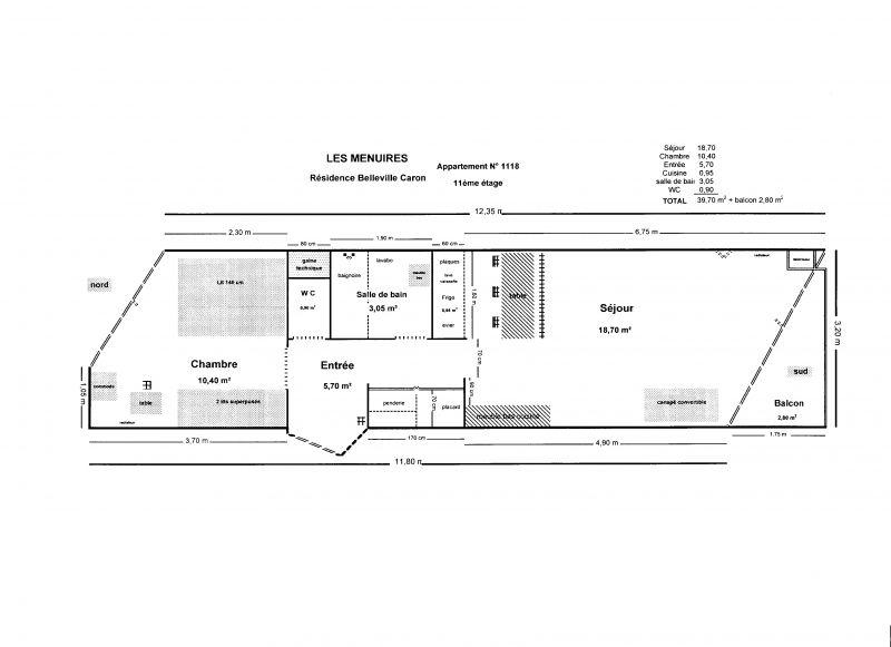 Pianta casa vacanze Affitto Appartamento 1631 Les Menuires