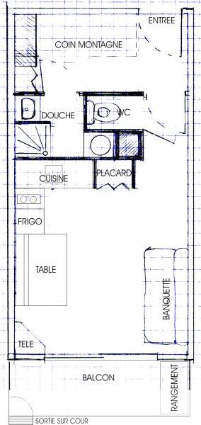 Pianta casa vacanze Affitto Monolocale 2795 Le Sauze