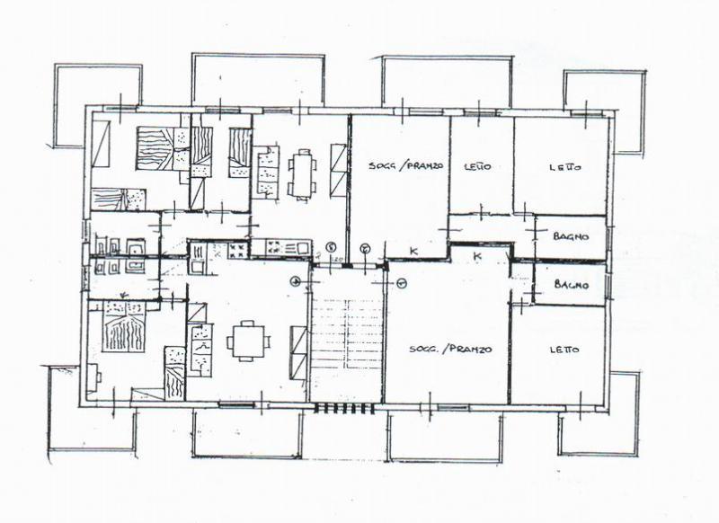 Pianta casa vacanze Affitto Appartamento 40527 Rimini