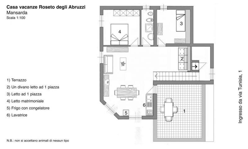Pianta casa vacanze Affitto Appartamento 45432 Roseto degli Abruzzi
