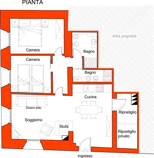 Pianta casa vacanze Affitto Appartamento 45784 Canazei - Belvedere