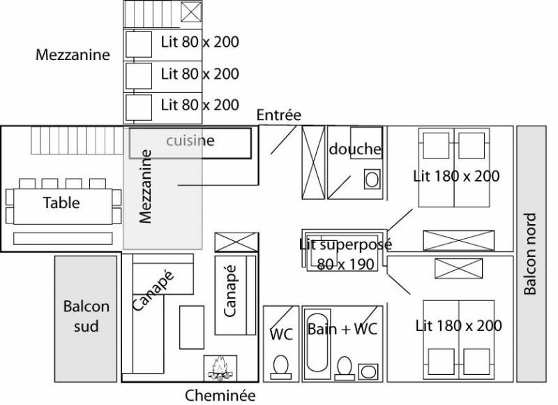 Pianta casa vacanze Affitto Appartamento 60012 Tignes