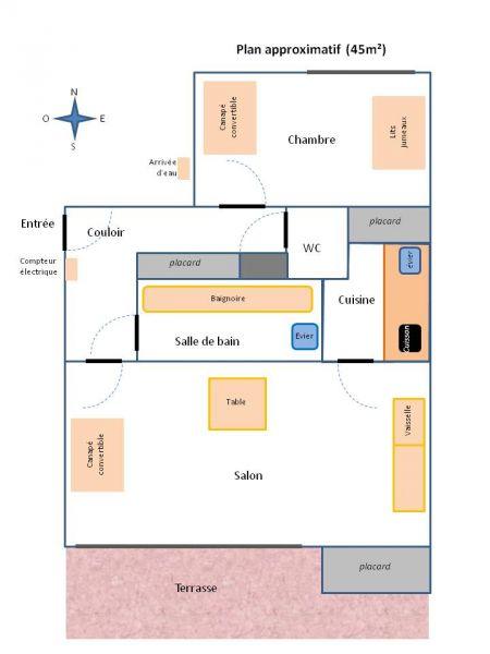 Pianta casa vacanze Affitto Appartamento 106100 Carnac