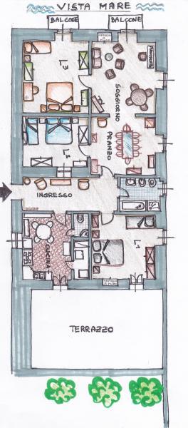 Pianta casa vacanze Affitto Appartamento 69201 Santa Maria al Bagno