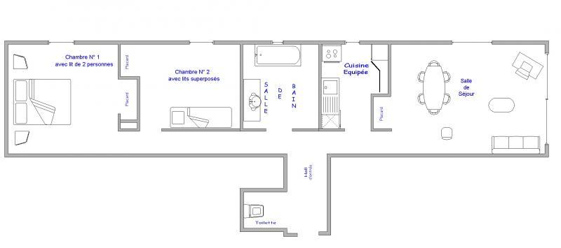 Pianta casa vacanze Affitto Appartamento 64 Alpe d'Huez