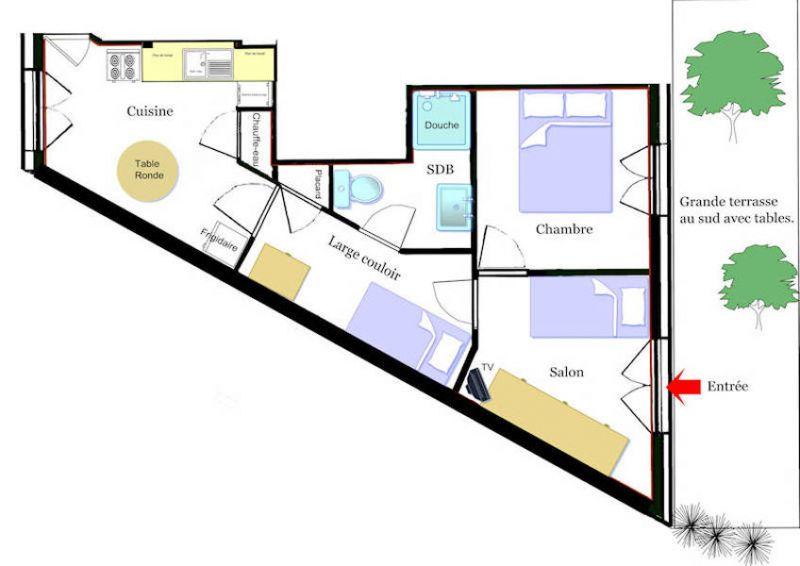 Pianta casa vacanze Affitto Appartamento 77282 Les Salles sur Verdon