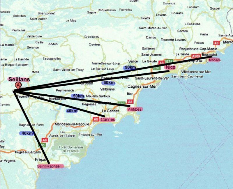 Mappa Affitto Villa  108337 Fayence