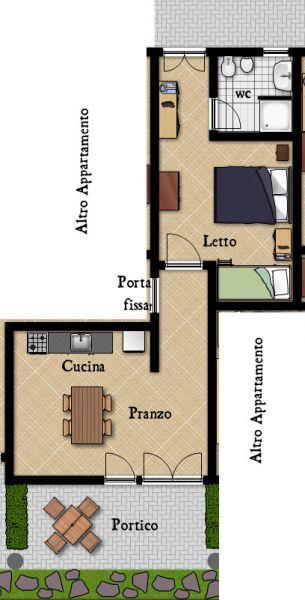 Pianta casa vacanze Affitto Appartamento 96680 Palinuro